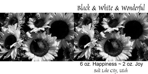 Custom Printed Self-Stick Label - Black White Sunflowers