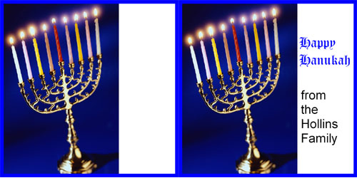 Custom Printed Self-Stick Label - Blue Hanukah