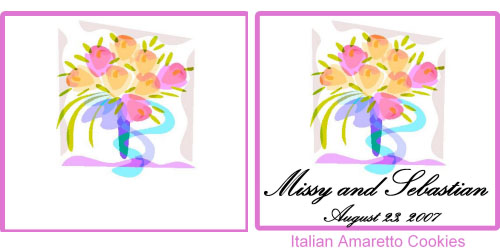 Custom Printed Self-Stick Label - Bouquet with Blue Ribbon