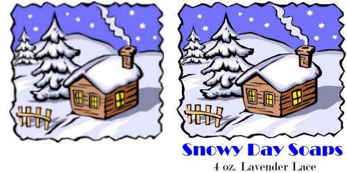 Custom Printed Self-Stick Label - Snowy Cartoon Cabin